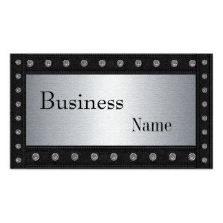 Metal Studs Look Silver Black 2 Business Card Template