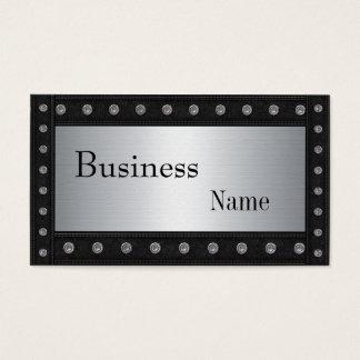 Metal Studs Look Silver Black 2 Business Card