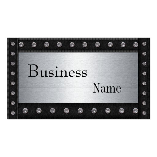 Metal Studs Look Silver Black 2 Business Card Template