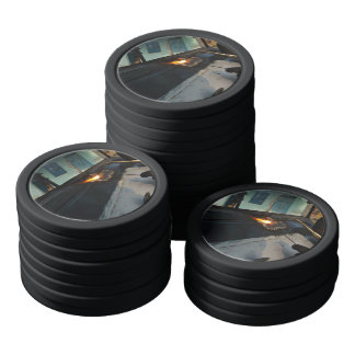 Metal Themed, A Man Carefully Welds A Large, Metal Poker Chips Set