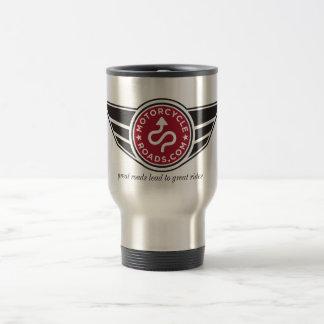 Metal travel mug with red MCR logo
