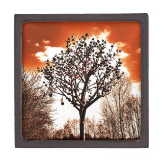 metal tree on the field orange tint jewelry box