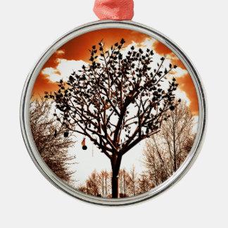 metal tree on the field orange tint metal ornament