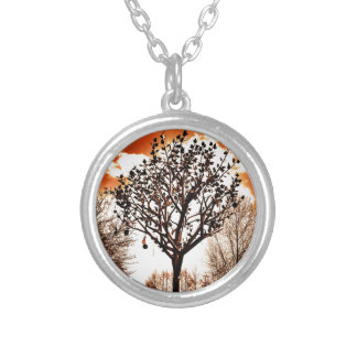 metal tree on the field orange tint silver plated necklace