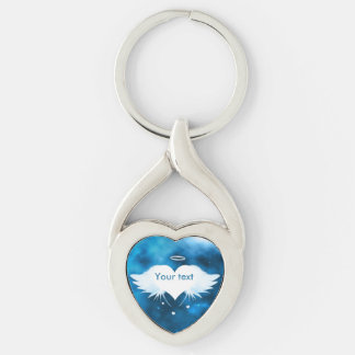 Metal Twisted Heart Keychain - Angel of the Heart Silver-Colored Twisted Heart Keychain