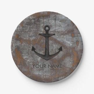 Metal viejo oxidado del ancla náutica de Old Navy Platos De Papel