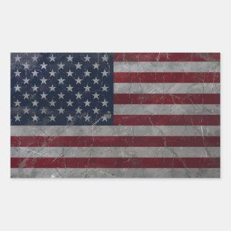 Metal Vintage Grunge American Flag Rectangular Sticker