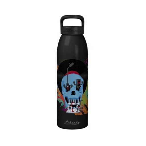 Metal Vinyl Music Skull Dancing Eyes Grunge Water Bottle