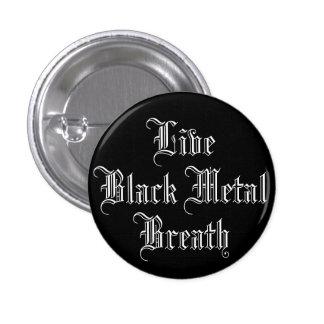 Metal vivo del negro de la respiración pin redondo de 1 pulgada