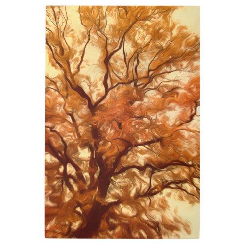Metal Wall Art Autumn Massive Tree Yellow