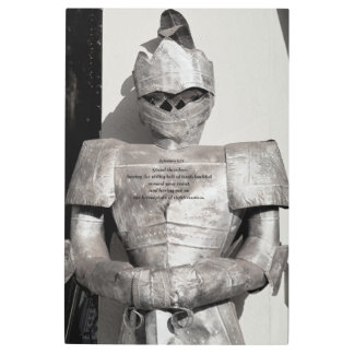 Metal wall art of knight with scripture verse
