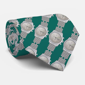 metal watches with teal green background neck tie