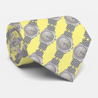 metal watches with yellow background neck tie