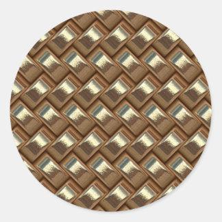 metal Weave golden (I) Classic Round Sticker