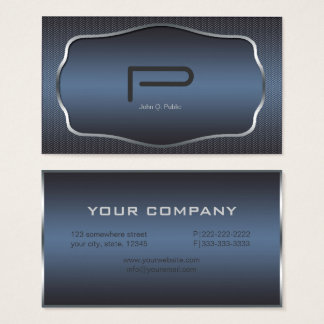 Metal Weave Monogram Slate Blue ID323 Business Card