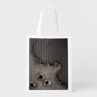 Metal with bullet holes background grocery bag