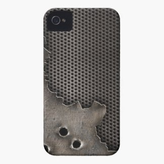 Metal with Bullet Holes Effect iPhone 4 cases