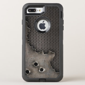 Metal with bullet holes background OtterBox defender iPhone 8 plus/7 plus case