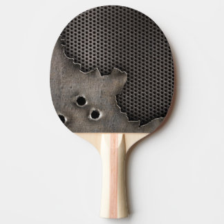 Metal with bullet holes background Ping-Pong paddle