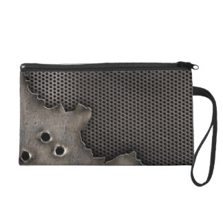 Metal with bullet holes background wristlet