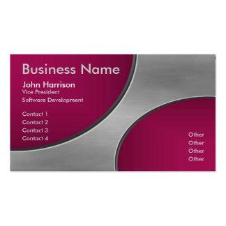 Metal with Burgandy Cutout Circles business card