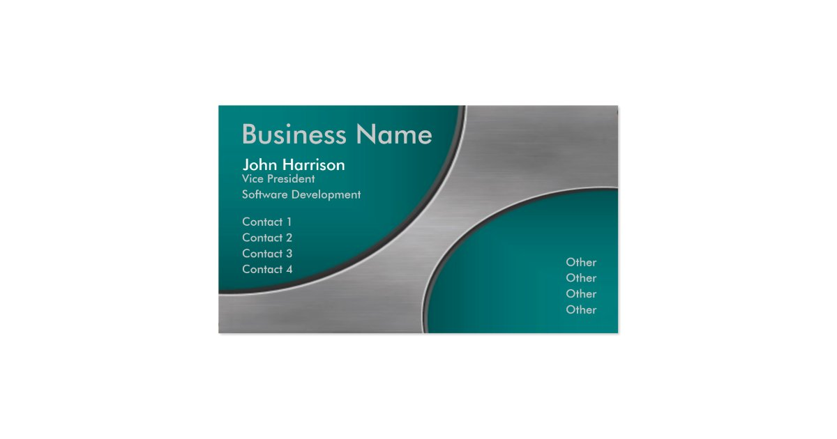 Metal with teal cutout circles business card zazzle for Cutout business cards