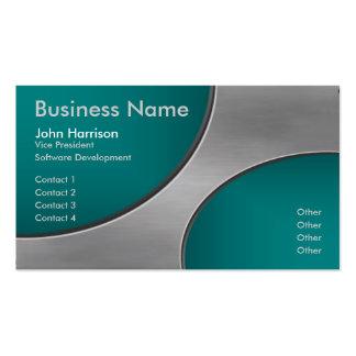 Metal with Teal Cutout Circles business card