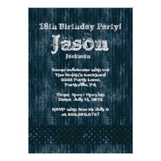 Metal Worn Grunge Denim Birthday Party Custom Invites