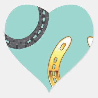 Metal y herraduras de oro pegatina en forma de corazón