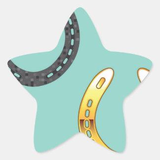 Metal y herraduras de oro pegatina en forma de estrella