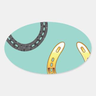 Metal y herraduras de oro pegatina ovalada