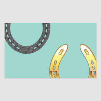Metal y herraduras de oro pegatina rectangular