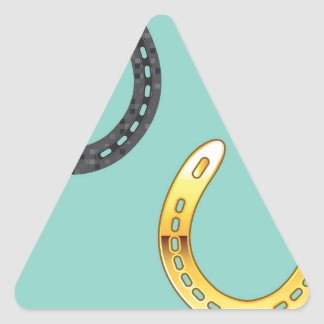Metal y herraduras de oro pegatina triangular