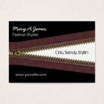 metal zipper fashion business card