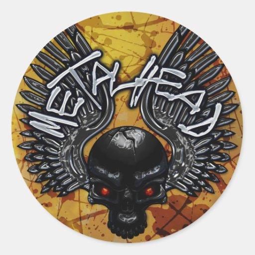 Metalhead Skullwing Etiquetas Redondas