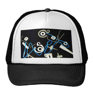 metalic abstract lateral canvas designs mesh hat