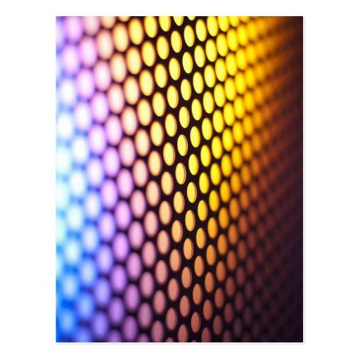 Metalic backlit shinny background post card