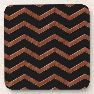 Metalic Bronze Zig Zag Pattern Coaster