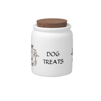 Metalic crest pet cat dog treats jar candy dish