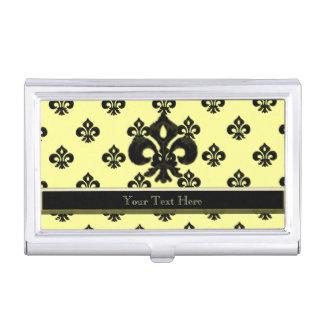 Metalic Fleur de lis (Black) Business Card Holder