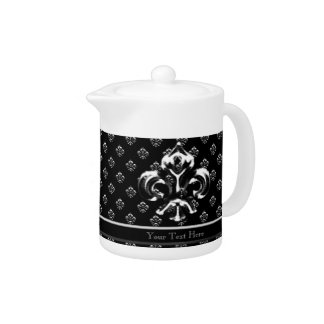 Metalic Fleur de lis (Silver) Teapot