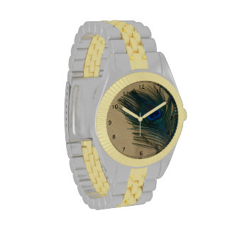 Metalic Gold Peacock Feather Wrist Watches