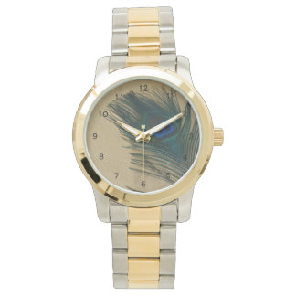 Metalic Gold Peacock Feather Wristwatches