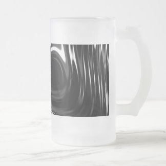 Metalic Liquid in Black and White Frosted Glass Beer Mug