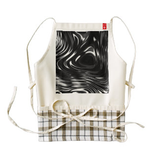 Metalic Liquid in Black and White Zazzle HEART Apron