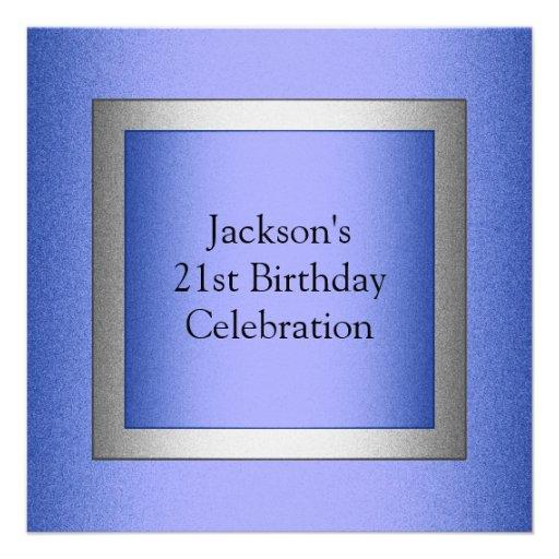 Metálico azul y de plata del 21ro cumpleaños elega anuncio personalizado
