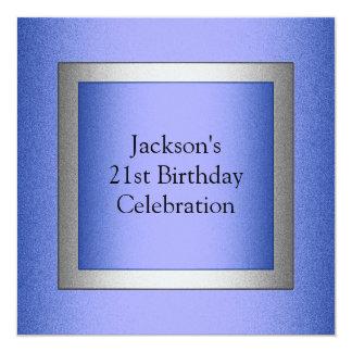 Metálico azul y de plata del 21ro cumpleaños invitación 13,3 cm x 13,3cm