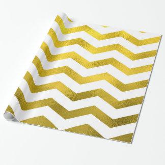 Metálico blanco del falso de oro de la hoja modelo papel de regalo