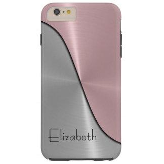 Metálico de acero de plata y rosado funda de iPhone 6 plus tough