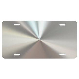 Metálico de plata placa de matrícula